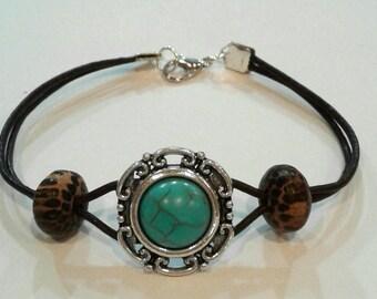 Turquoise and leather bracelet, leather bracelet, turquoise bracelet