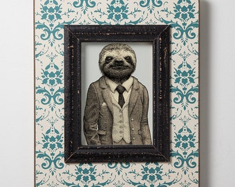 Stylish Sloth Print - Sloth Art - Animal Print - Art Print - Wall Decor - Home Decor - Animal in Suit