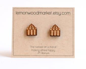 circus tent earrings - alder laser cut wood earrings - greatest showman earrings - barnum earrings