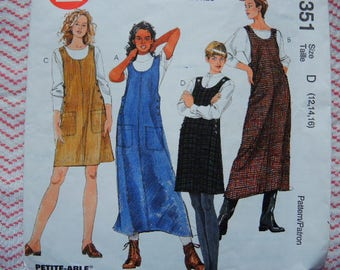 vintage 1990s sewing pattern McCalls 8351 misses jumper in two lengths size 12-14-16