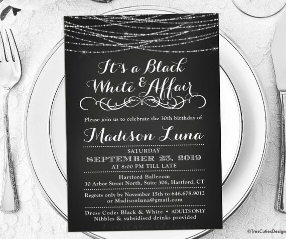 Its a Black and White Affair Party Invitations Black and