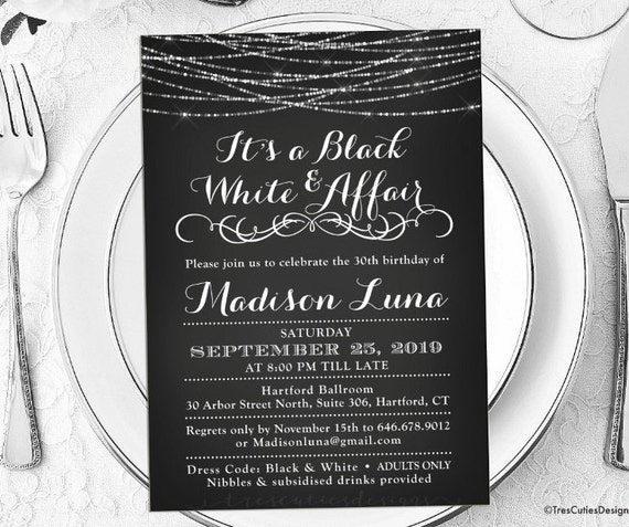 Its a black and white affair party invitations black and filmwisefo Gallery