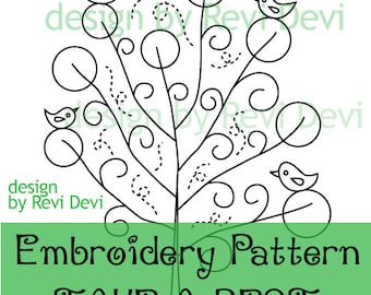 Tree Embroidery Pattern / PDF Instant downlaod / Hand embroidery modern design / tree, birds / Take A Rest