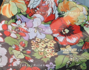 abundant flowers Black Silk Chiffon Fabric