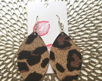 Leopard Leather Earrings, Leather Earrings, Leopard, Cheetah, Earrings