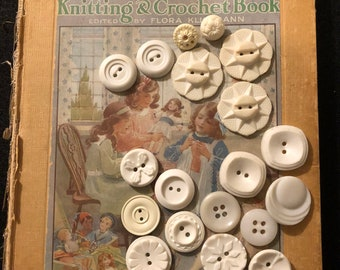 Vintage Buttons - Assortment of White Plastic Buttons Set of 19