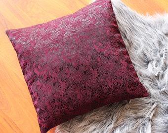Pillow case 40x40 cm. Oriental. With floral pattern. Red, bordeaux