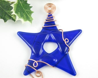 Blue Glass Star Christmas Ornament -  Cobalt Blue Fused Glass - Handmade Glass Star Christmas Tree Ornament - Star Suncatcher