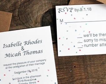 confetti polka dot wedding invitation set - 50 invitations and response cards wedding stationery