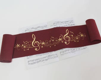 Piano-runner keyboard cover for piano key ceiling embroidered 100% wool felt dark Bordeaux