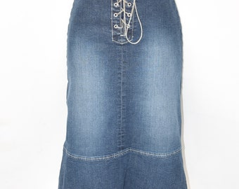 "Vintage Blue Denim TOM TAILOR High Waist Stretch Pencil Knee Length Women's Jeans Skirt Size UK6 L26"""