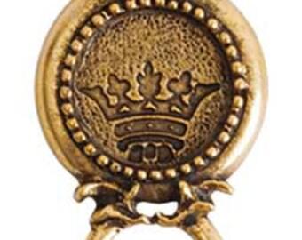 Royal Emblem Circle GOLD Bezel Connector, 36.5x19x3mm, by Nunn Designs. NDRECCG