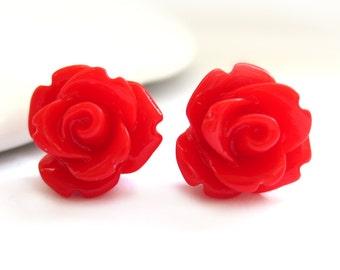 SALE - Cherry Red Rose Stud Earrings