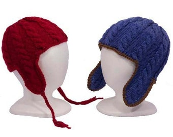 Child's Cable Ear Flap Hats - Knitting Pattern PDF