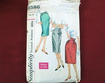 1960s Wiggle Skirt Vintage Pattern, Simplicity 3586, Waist 25