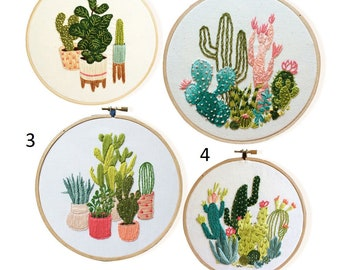 """Embroidery kit """"Botany. Cactus"""" with framework, Wall Decor, Home Decor, Embroidery, Handmade Idea Gift, Embroidery for Beginner, Needlework"""