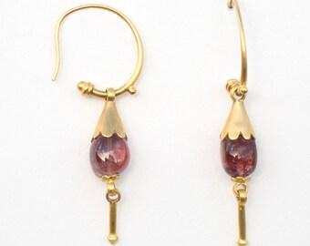 Earrings with Tourmaline, 19 x 31 mm