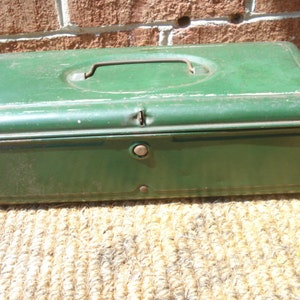 Vintage Metal Tool Box with Handle Old Green Paint
