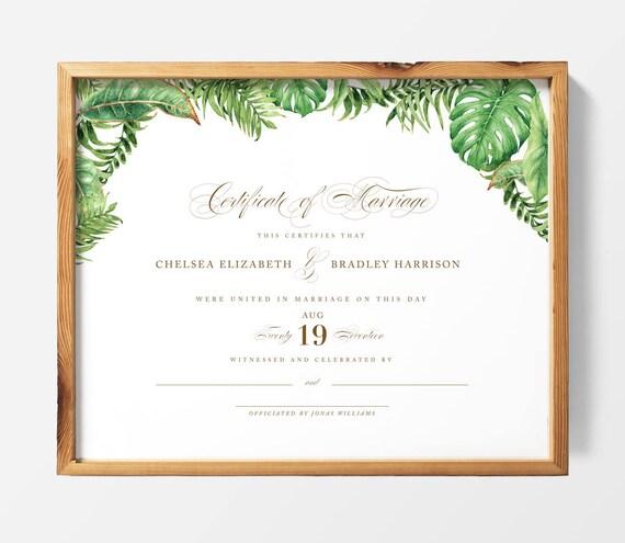 DRUCKBARE Benutzerdefinierte Heirat Hochzeit Zertifikat