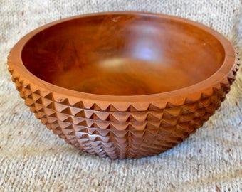 Hand Carved Teakwood Serving Bowl
