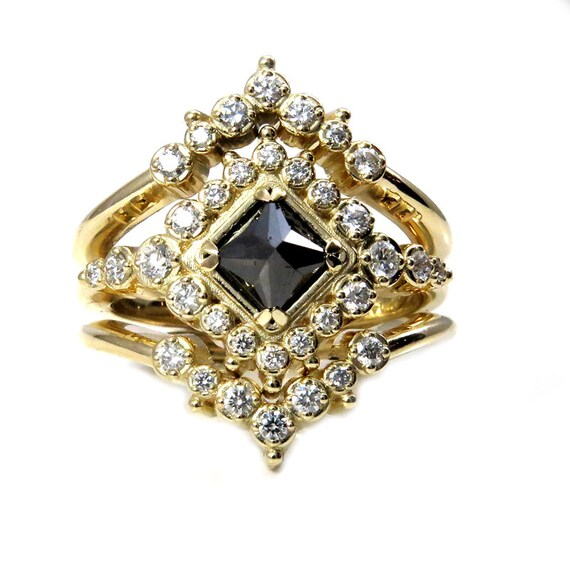 Gold Bohemian Engagement Ring Set - Black Square Daimond with Tiny White Diamonds and Crown Wedding Bands