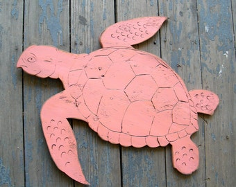 Turtle Wall Art Large Swimming Turtle Wooden Beach Decor Coastal Decor Ocean Sea
