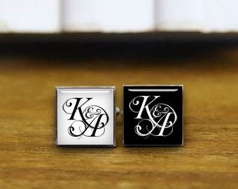 customized monogram cufflinks, initial cufflinks, custom your photo cuff links, square cufflink & tie clip, personalized wedding cufflinks