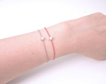 Cubic Zirconia Round Stone 4mm Round/Square Plate Silk Cord Bracelet