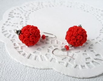 Floral earrings red rose flower earrings gift spring be unique jewelry polymer romantic gift for her flower jewelry earrings every day gift