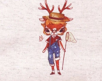 "Deer Fabric,Hand Printed Fabric,Deer Catching Butterflies,One Panel 6""x 6"" (15cm X 16cm) C12c"