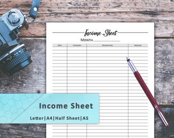 Income Sheet, Income Tracker, Finance Planner, Finance Planner Book, Financial And Budget Planner, Income Statement, Income Calculator