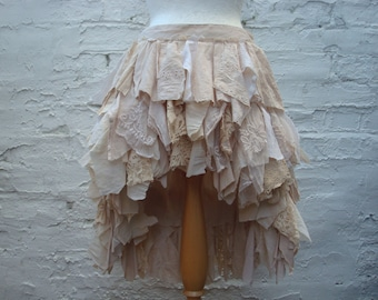 Tea stained skirt Hi lo skirt Tattered skirt Upcycled gown Country wedding skirt Woodland Boho Mori heigh low skirt ruffled rags