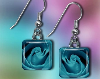 Teal Rose Earrings(EBlRo5.1)