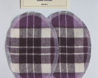 Elbow Patches - Burgundy, Grape and Cream Plaid - Set of 2