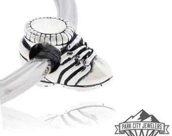 Sterling Silver Runner Running Shoe Bead Charm, Marathon, Half Marathon, 5K, 10K Souvenier Charm  Bead