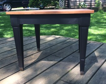 AVAILABLE: Midcentury End Table / Lamp Black / General Finishes / Nightstand / Accent Table / Barrington IL / Chicago IL