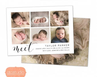 Birth Announcement Template - Baby Announcement Template for Photographers - Newborn 5x7 card - CB101  - INSTANT DOWNLOAD