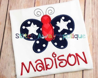 Patriotic Fourth of July Butterfly Machine Applique Design