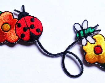 Embroidered Iron-On Applique Flower Bugs, 1+3/8 x 3+5/8 inch