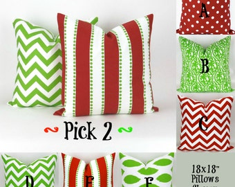 """Two Christmas Throw Pillow Covers - 18x18"""" - Mix/Match Green Red Decorator Pillow, Accent Pillow, Holiday Decor, Cushions, Pemier Prints"""