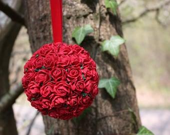 Hanging ball, Red flower decoration, Flower decoration, Wedding Pomander, Hanging decoration, Red flower ball, 9cm