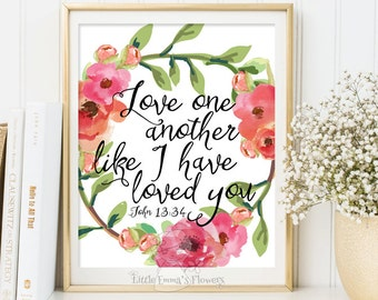 Love One Another Print Bible Verse Printable Wedding Scripture Art Floral  Christian Wall Decor Marriage Inspirational