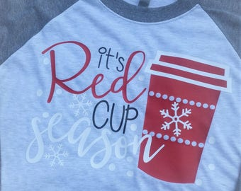 Red Cup Season Christmas Winter Starbucks Coffee Women Raglan