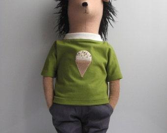 Jakob the Hedgehog. Eco Friendly Plush Toy. Handmade Hedgehog.