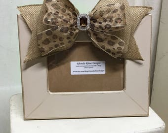 Burlap and Leopard 4x6 Hand Painted Picture Frame