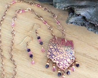 Unique Copper Flower Necklace and Earring set, Free form Copper Necklace, Flower Jewelry, Crystal Necklace, Jewelry set, Gift for her