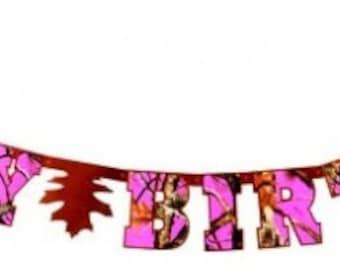 "Next Camo Pink ""Happy Birthday"" Letter Banner"