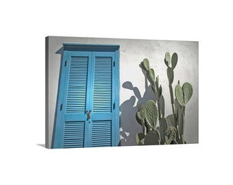 Southwest Art, Tucson Photograph, Blue Shutters Art, Arizona Cactus Art, Southwestern Decor, Arizona Architecture Art, Tucson Gift