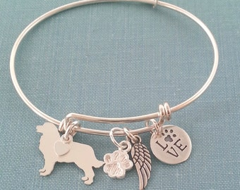 Bernese Mountain Dog Adjustable Bangle Bracelet, 925 Sterling Silver Personalize Pendant Breed Charm Rescue pet memorial jewelry