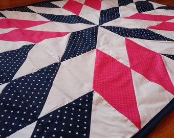 Pink and Blue Diamond Pinwheel Crib Quilt